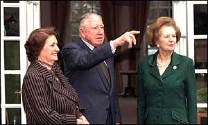 Baroness Thatcher visits General Pinochet and his wife