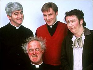 image: [ Dermot Morgan (left) with Father Ted co-stars Frank Kelly, Ardal O'Hanlon and Pauline McLynn ]