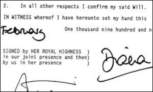image: [ The Princess's signature at the end of her will. ]