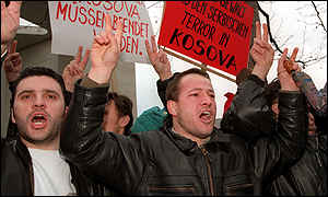 image: [ Ethnic Albanian emigres hold a protest in Germany ]