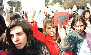 image: [ About 10,000 Albanian women marched in Pristina in the Serb-controlled province of Kosovo ]