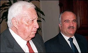 image: [ The Israeli Infrastructure Minister, Ariel Sharon, with Crown Prince Hassan ]