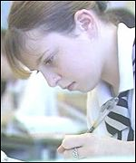 Girl pupil writing