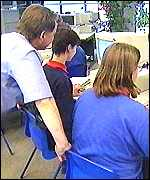 teacher and pupils using computers