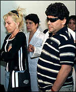 Maradona and his wife Claudia arrive in Havana
