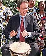 PM Tony Blair bangs his drum
