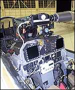 The F-18 cockpit integrates the ultraviolet detector