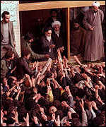 Ayatollah Khomeini receives an ecstatic welcome