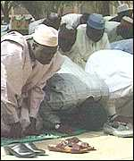 Muslim men at prayer
