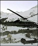 President Clinton's helicopter practices test landing