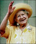 The Queen Mother at the VE day anniversary celebrations in 1995