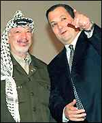 Yasser Arafat and Ehud Barak