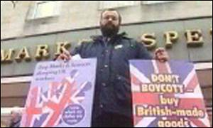 Protest outside M&S urges protection for British jobs [Credit: BBC]