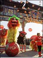 Lion dancers in Beijing