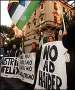 Anti-Haider protesters picket the Austrian embassy in Rome