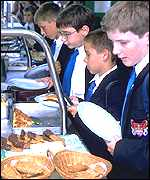 pupils in canteen