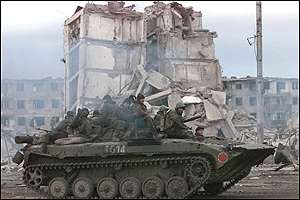 Russian tank in Grozny
