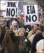 Residents of Madrid in anti-ETA protests