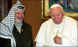 Yassar Arafat and Pope John Paul II