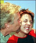 V2 boss Sir Richard Branson with Mel C