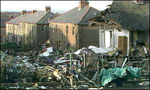Damaged houses in Lockerbie
