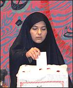 A woman voter in Iran