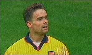 image: [ Marc Overmars was a constant threat in front of goal ]