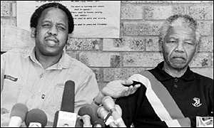 Chris Hani, the ANC's former chief of staff, pictured with Nelson Mandela in 1990