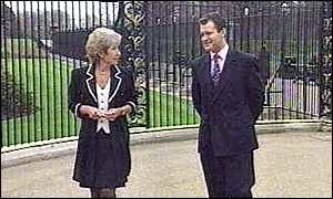 image: [ Jennie Bond interviews Paul Burrell - in front of the public parks where Diana would roller-blade ]
