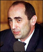 Robert Kocharian won almost 39% of the votes