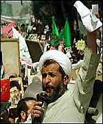 Iranian cleric at demo