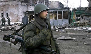 Russian soldier in Chechnya