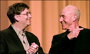 Bill Gates with actor Patrick Stewart