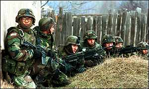 US soldiers patrolling the Serb part of Mitrovica