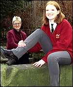 Jo Hale wearing trousers and her mother Claire