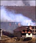burning village - kosovo