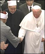 The Pope with Sunni Muslim cleric Sheikh Mohammed Sayyed Tantawi