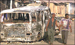 Burnt-out bus in Kaduna