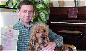 BBC Correspondent Tim Hirsch and his cocker spaniel Gus, with the