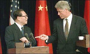 Presidents Jiang Zemin and Bill Clinton
