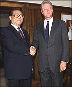 Jiang Zemin and Bill Clinton
