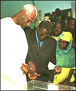President Diouf at polling station
