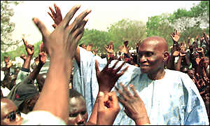 Abdoulaye Wade greets supporters