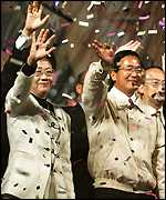 Chen celebrates with running mate Annette Lu