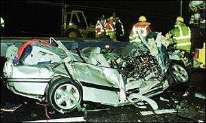 Crashed car on the M6 motorway in Cheshire