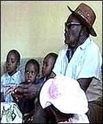 Mr Akuku with some of his children