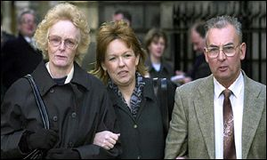 Isabelle Thompson, Carol Gillies, Hector McInnes outside court