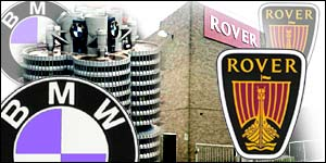 Montage of BMW and Rover car badges with Longbridge and BMW HQ