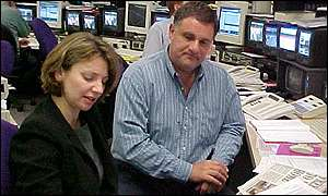 Laurie Margolis and Caroline Thomsett in the BBC News Centre