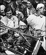 Hitler greeted by Germans